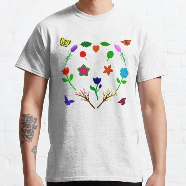 Scattered Flowers and Butterflies, no background Classic T-Shirt