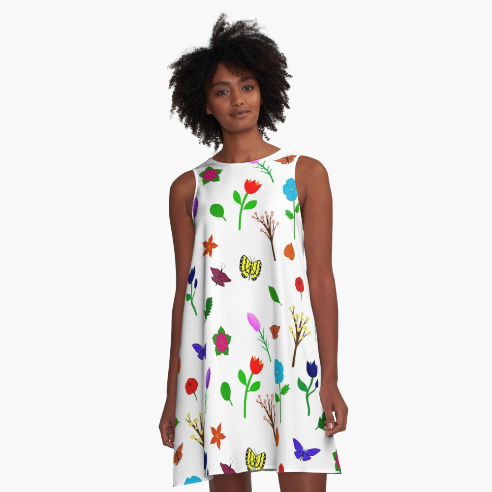 Scattered Flowers and Butterflies, no background A-Line Dress