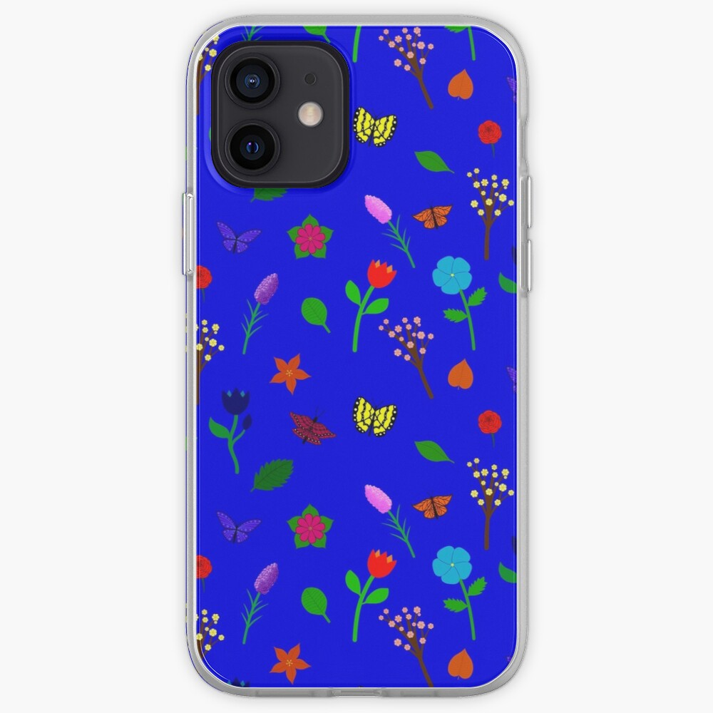 Scattered Flowers and Butterflies, blue background iPhone Case & Cover