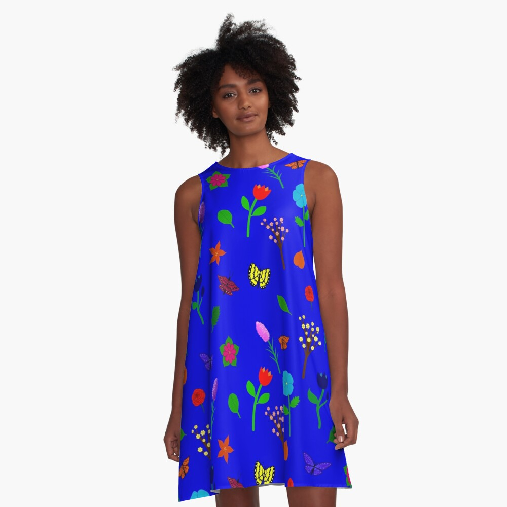 Scattered Flowers and Butterflies, blue background A-Line Dress