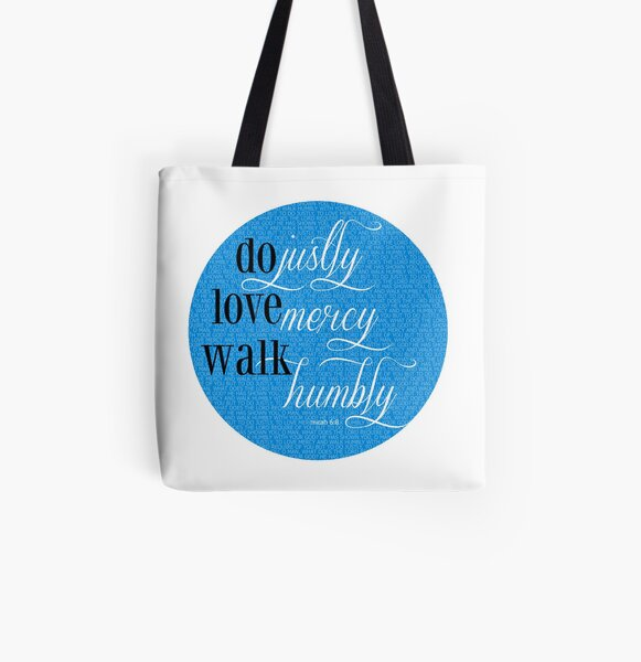 Do Justly | Micah 6:8 | Blue All Over Print Tote Bag