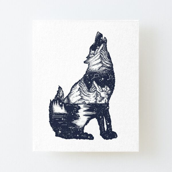 Wolf double exposure Canvas Mounted Print