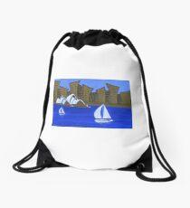 Sails and City Drawstring Bag