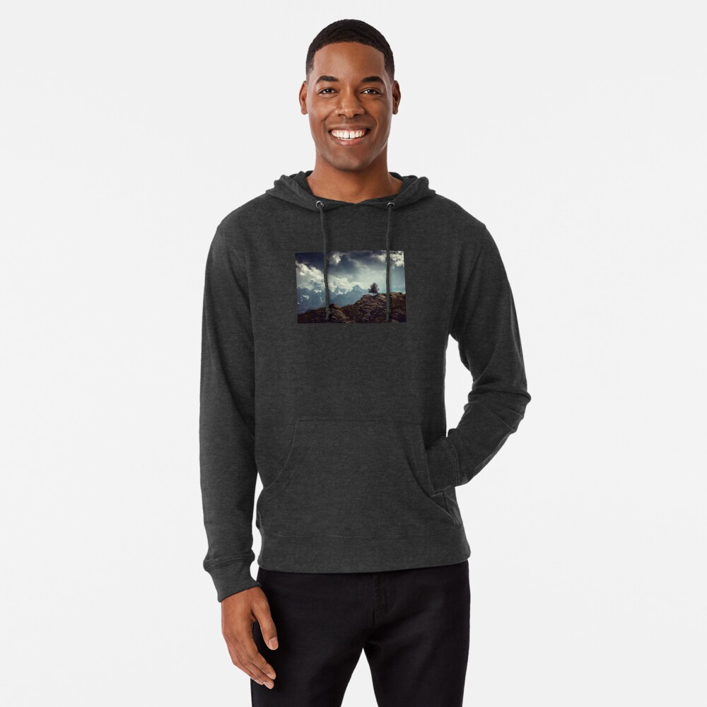 Majestic Mountains and a lone tree Lightweight Hoodie