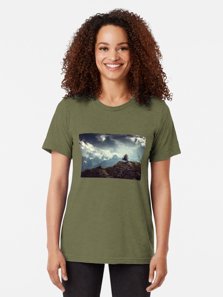Alternate view of Majestic Mountains and a lone tree Tri-blend T-Shirt
