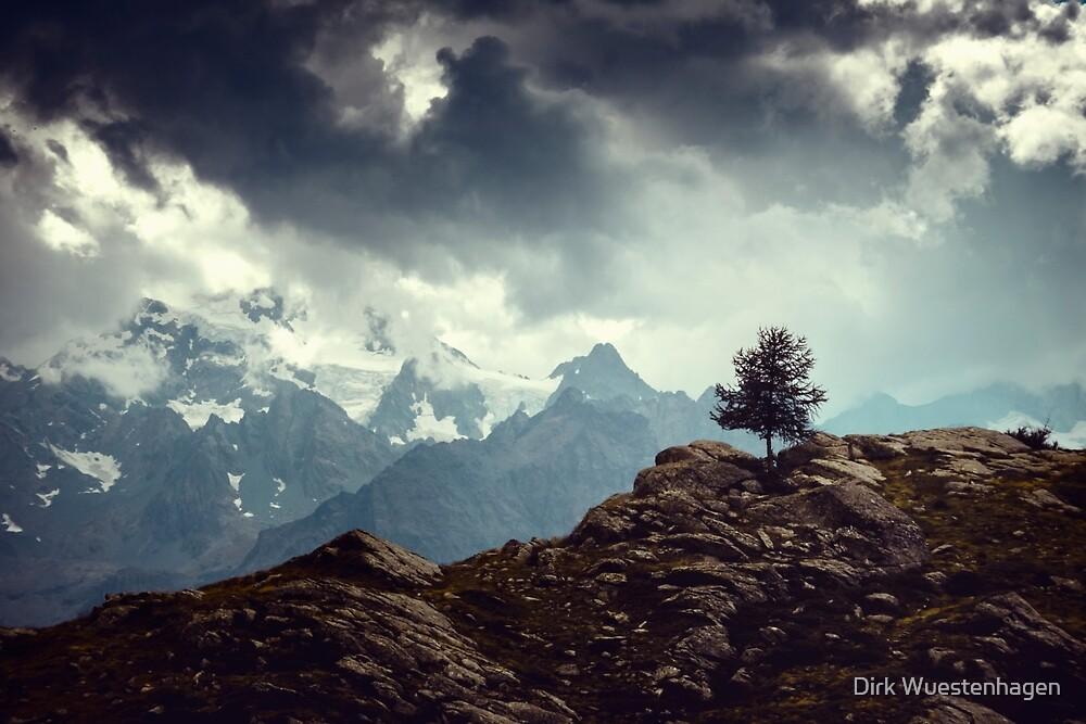 Majestic Mountains and a lone tree by Dirk Wuestenhagen