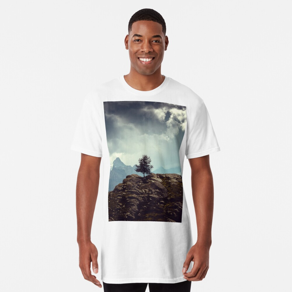 Majestic Mountains and a lone tree Long T-Shirt