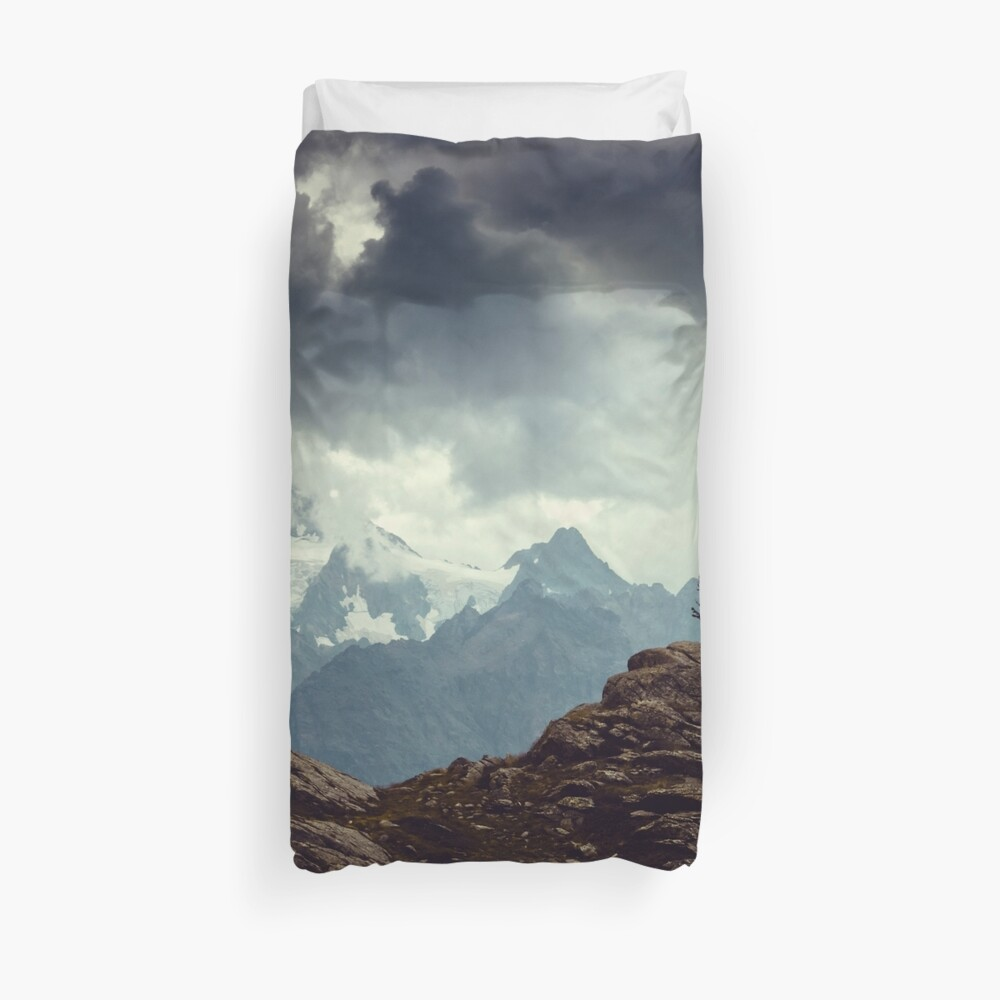 Majestic Mountains and a lone tree Duvet Cover