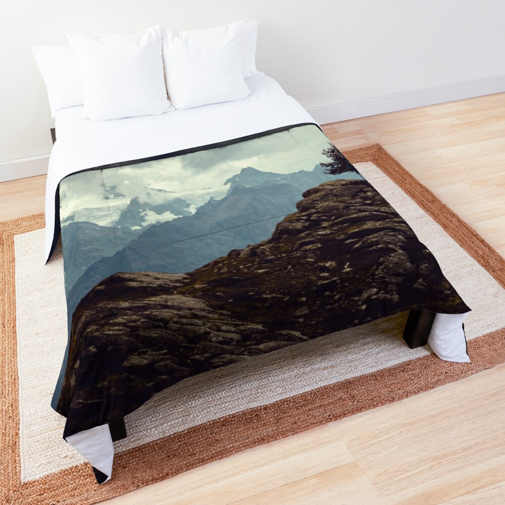 Majestic Mountains and a lone tree Comforter