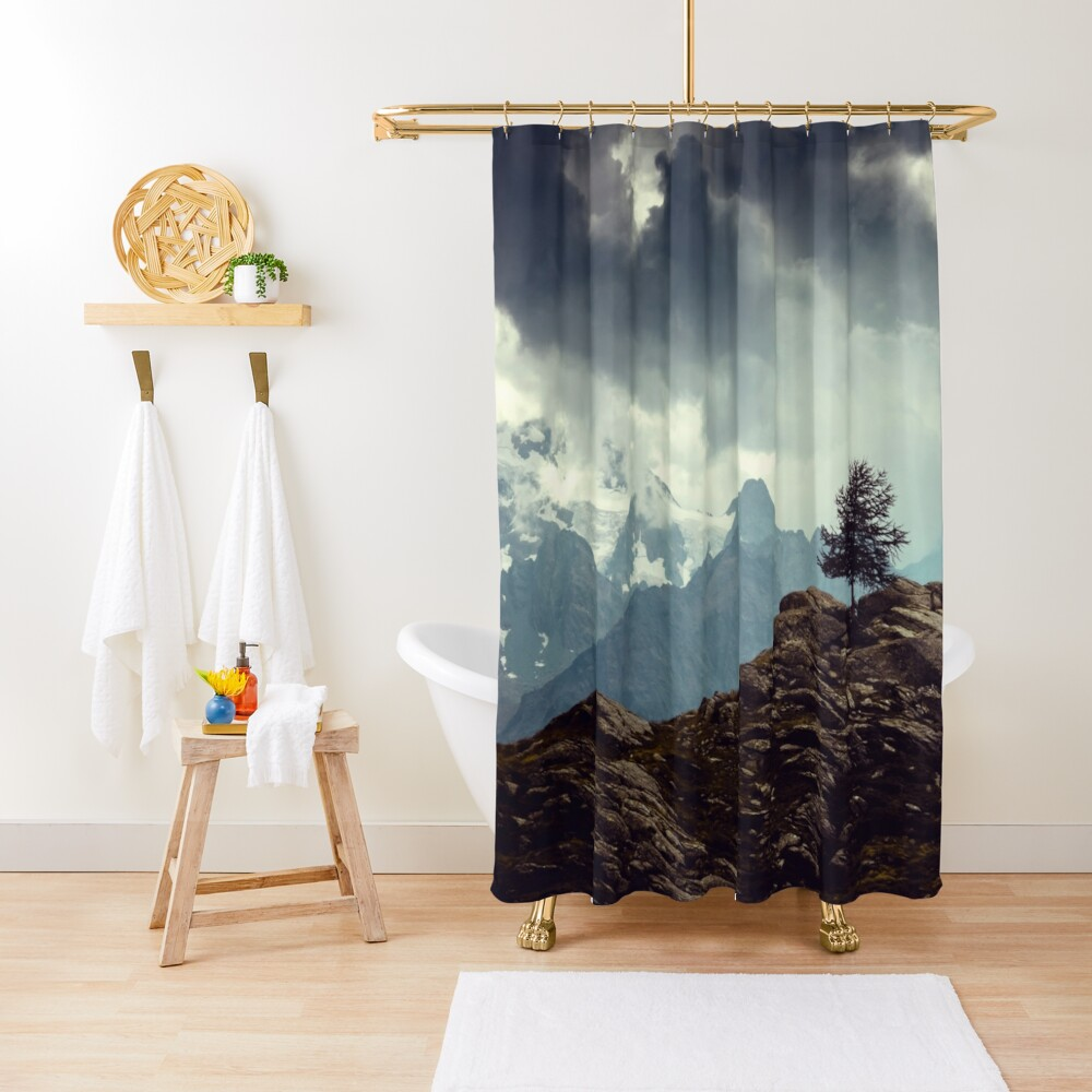 Majestic Mountains and a lone tree Shower Curtain