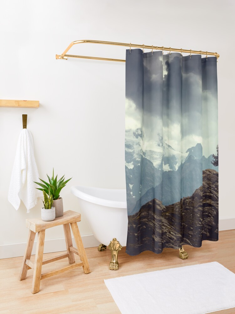 Alternate view of Majestic Mountains and a lone tree Shower Curtain