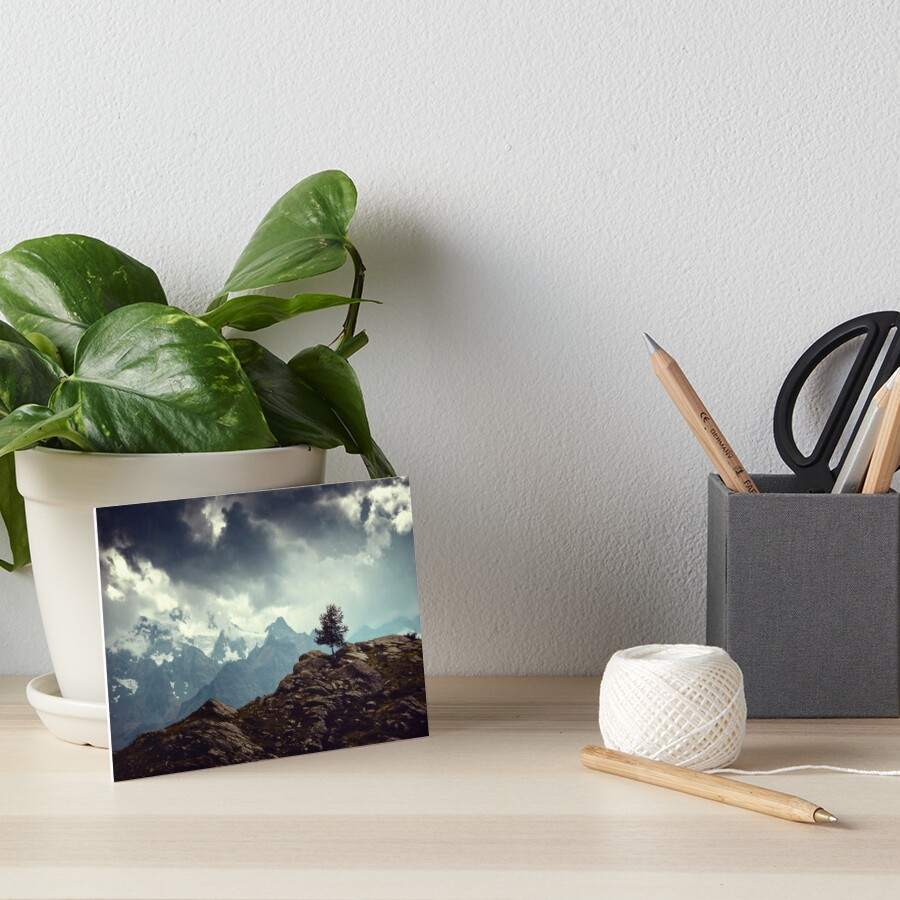 Majestic Mountains and a lone tree Art Board Print