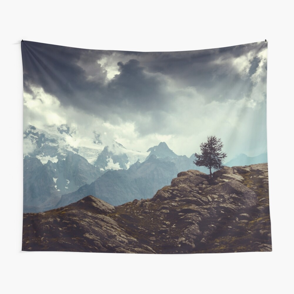 Majestic Mountains and a lone tree Wall Tapestry