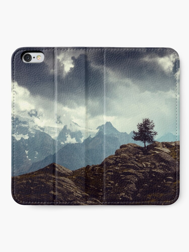 Alternate view of Majestic Mountains and a lone tree iPhone Wallet