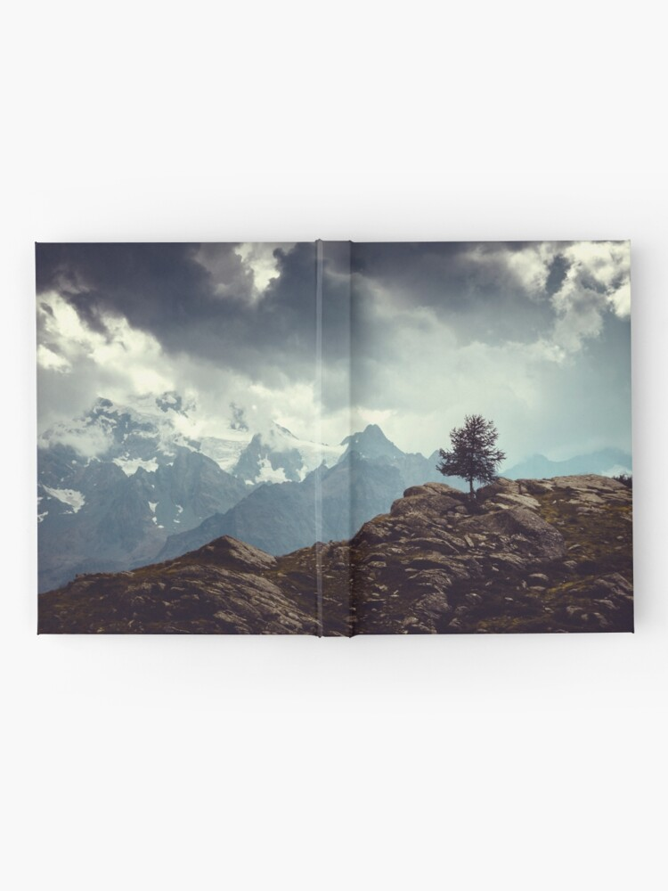 Alternate view of Majestic Mountains and a lone tree Hardcover Journal