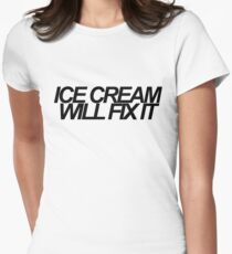 Ice Cream Will Fix It- Black T-Shirt