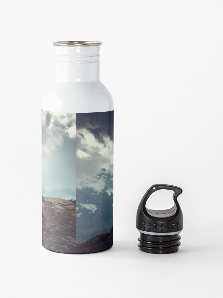 Alternate view of Majestic Mountains and a lone tree Water Bottle