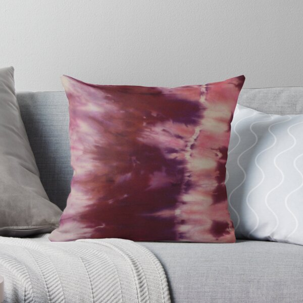 Unique Silk Painting Rope Tie Shibori Burgundy Burst Throw Pillow