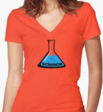 Science Beaker Blue Women's Fitted V-Neck T-Shirt