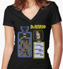 Dr.Mario NES Women's Fitted V-Neck T-Shirt