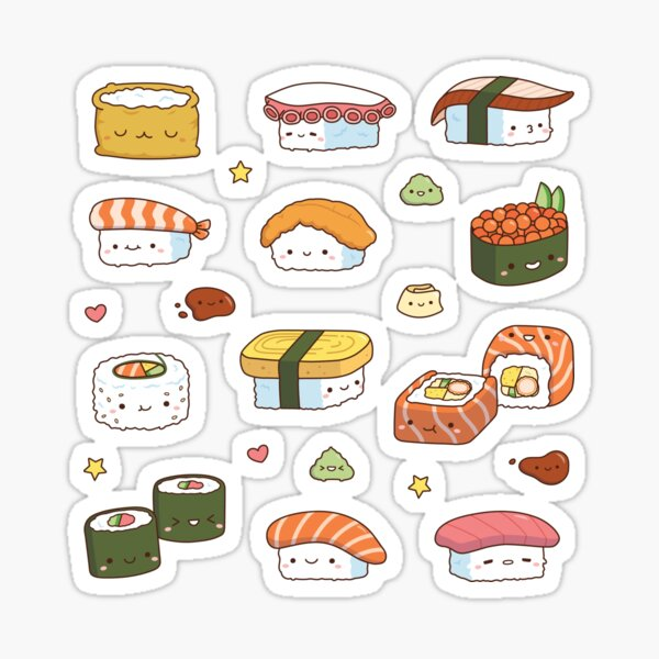 Kawaii Japanese Sushi Nigiri Maki Set Sticker