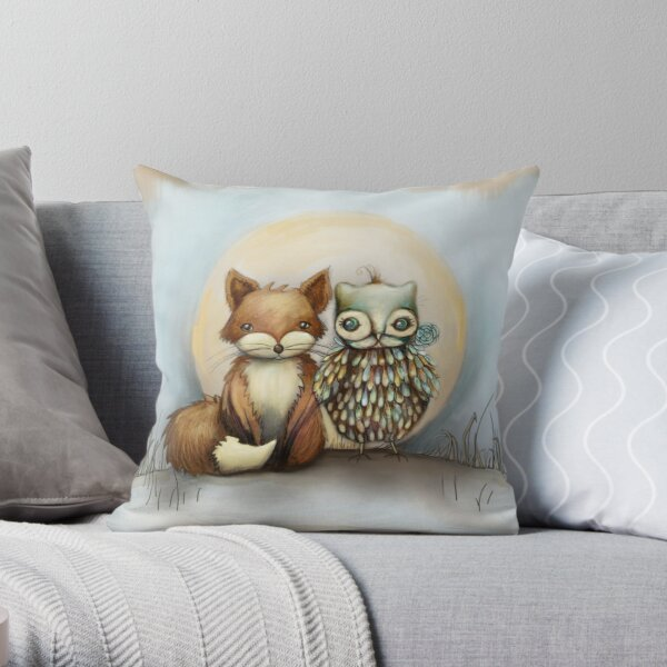 fox and owl Throw Pillow