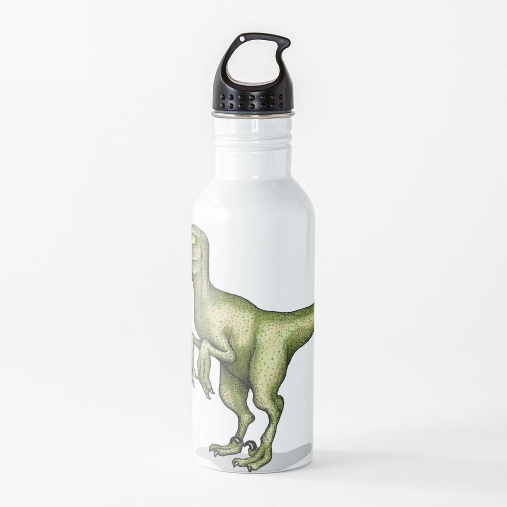 Raptor eating pizza Water Bottle