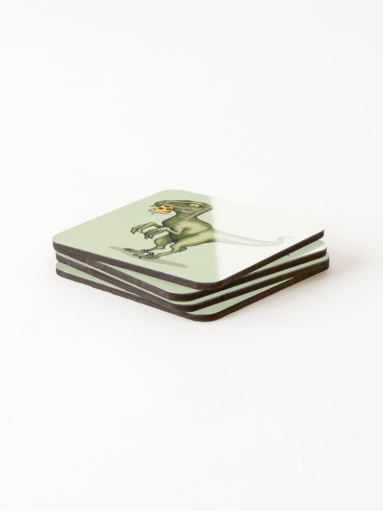 Alternate view of Raptor eating pizza Coasters (Set of 4)