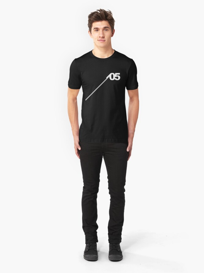 Alternate view of Number #05 (White). Slim Fit T-Shirt