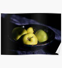 Green apples blue bowl Poster