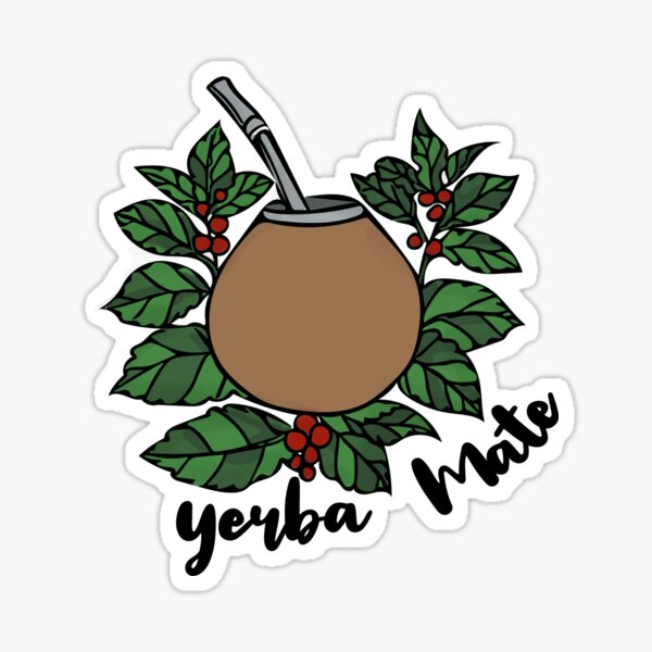 Yerba mate gourd and leaves Sticker