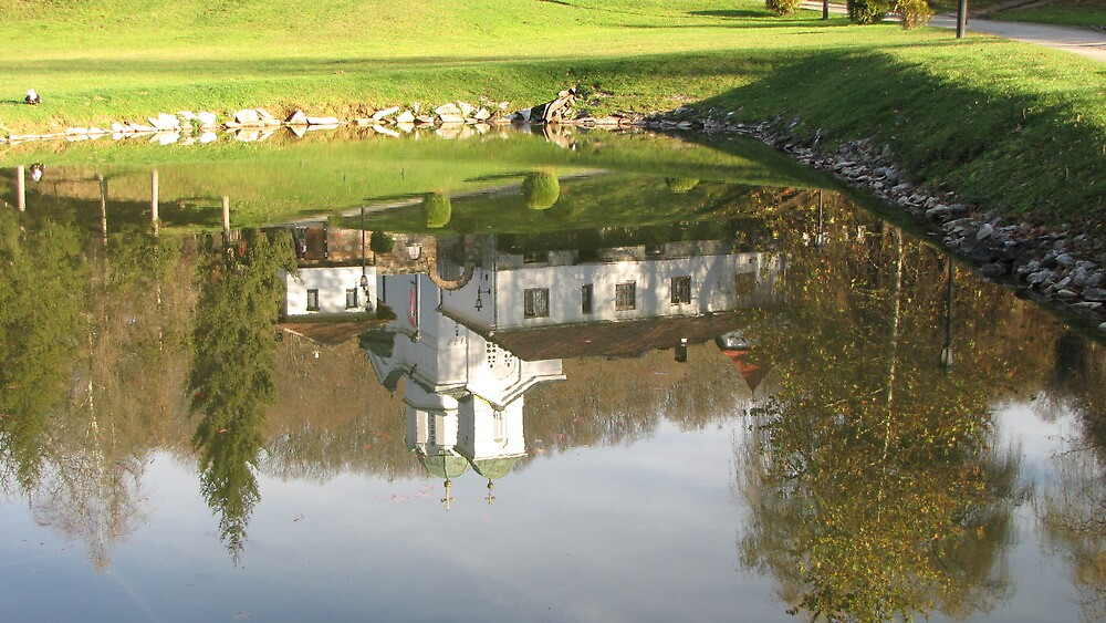 Monastery in water mirror by branko stanic