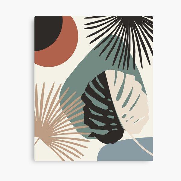 Minimal Yin Yang Monstera Fan Palm Finesse #1 #tropical #decor #art  Canvas Print