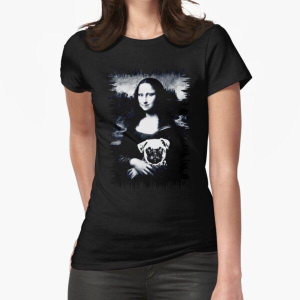 Pug Hug Mona Lisa Fitted T-Shirt