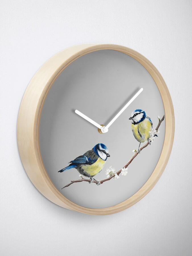 Alternate view of Blue Tits garden birds by Julie Jones Clock