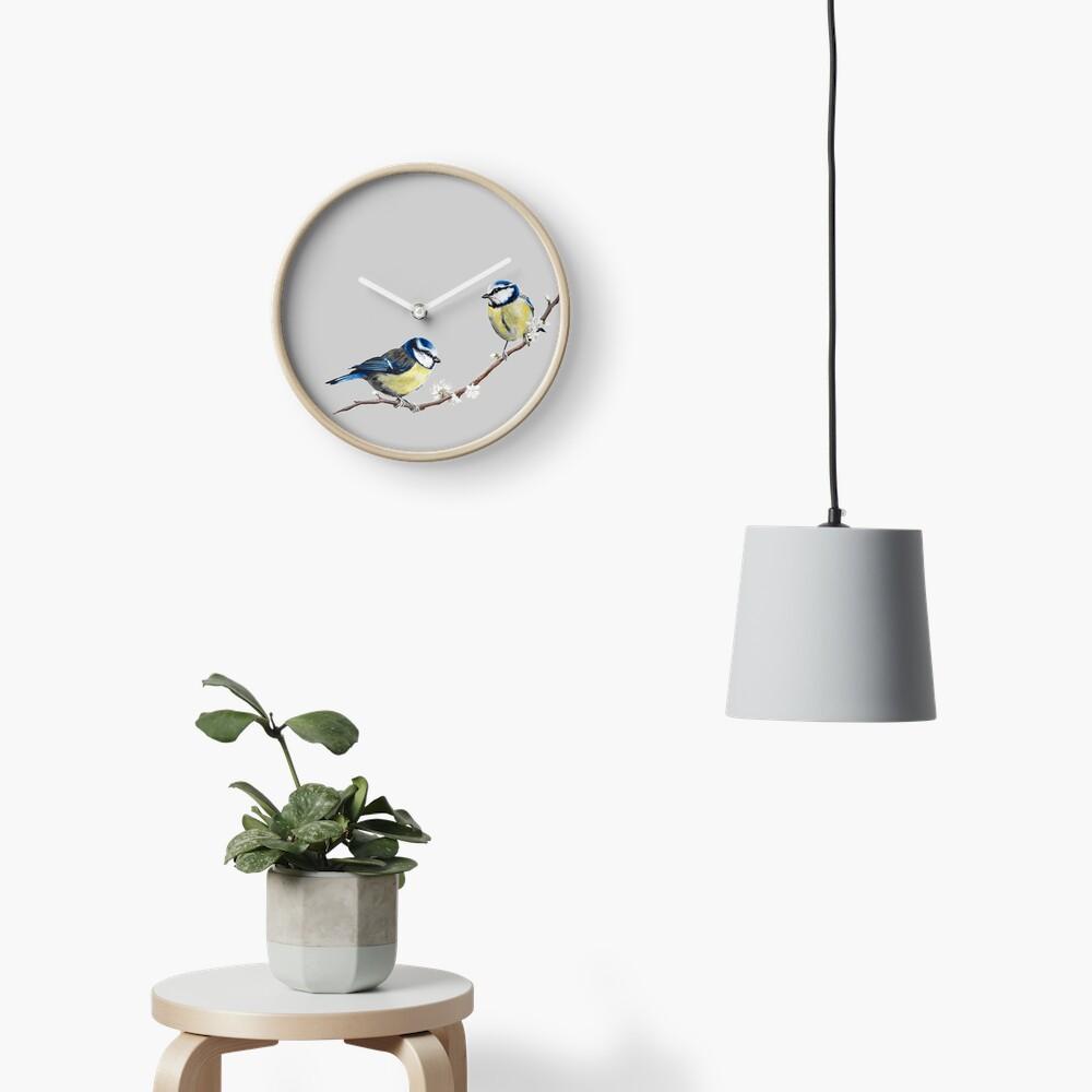 Blue Tits garden birds by Julie Jones Clock