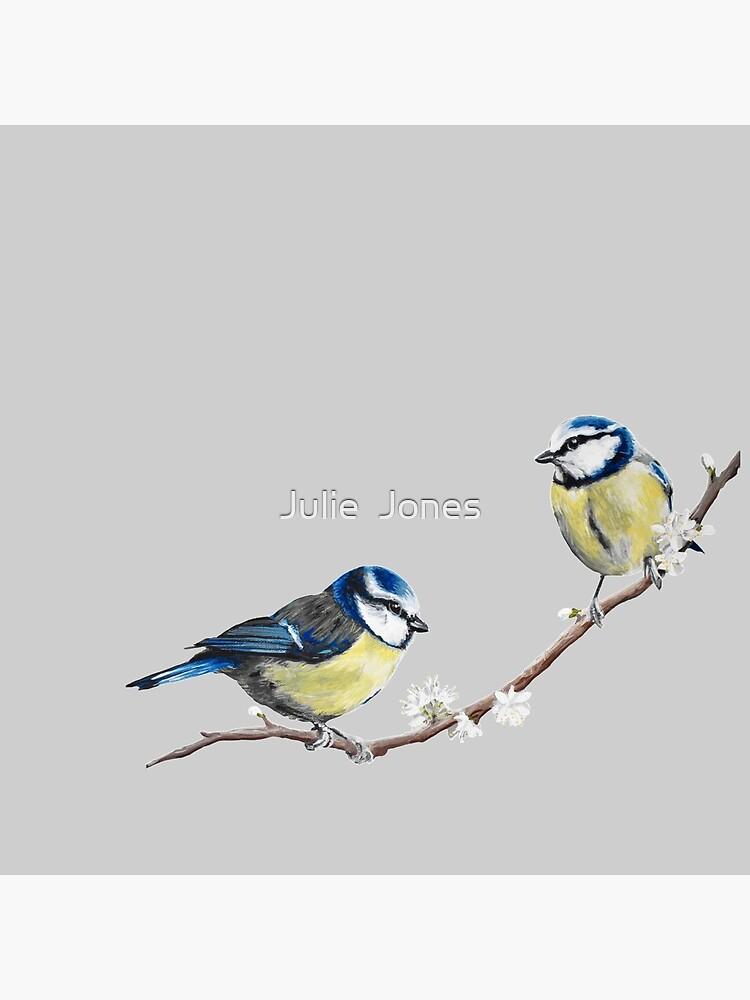 Blue Tits garden birds by Julie Jones by JJmurals