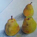 """pears on blue"" by Richard Robinson"