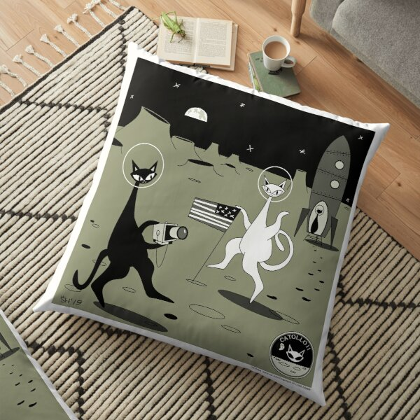 That's One Small Step For Cat Mid Century Modern Atomic Cats Floor Pillow