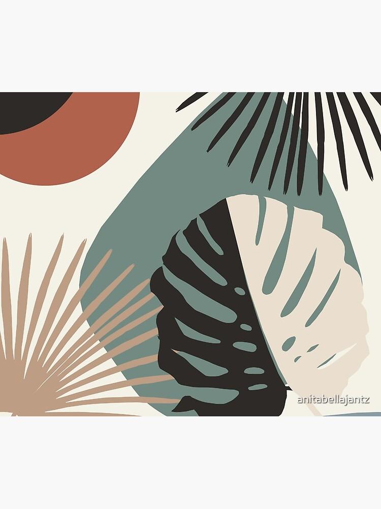 Minimal Yin Yang Monstera Fan Palm Finesse #1 #tropical #decor #art  by anitabellajantz