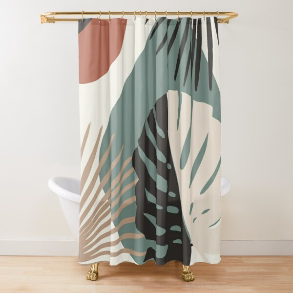 Minimal Yin Yang Monstera Fan Palm Finesse #1 #tropical #decor #art  Shower Curtain
