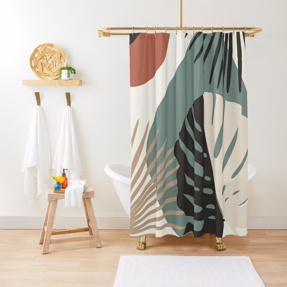 Minimal Yin Yang Monstera Fan Palm Finesse #1 #tropical #decor #art  Shower Curtain