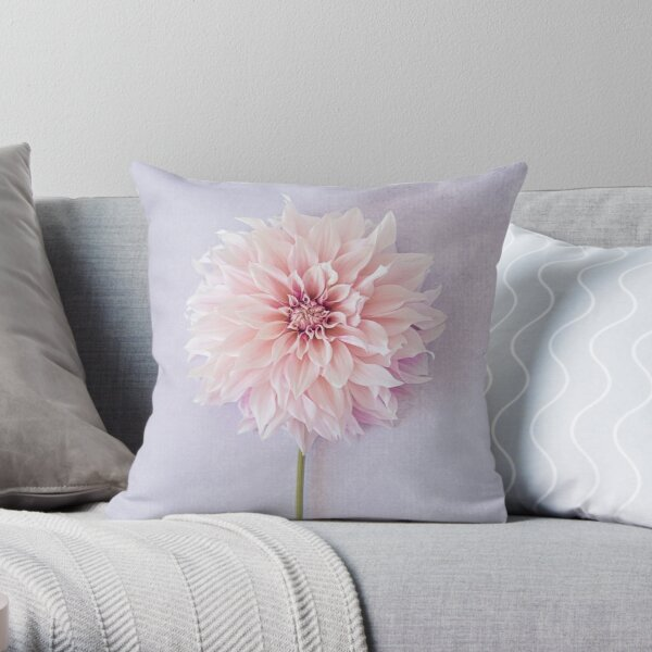 Cafe au Lait Dahlia in soft blush pinks Throw Pillow