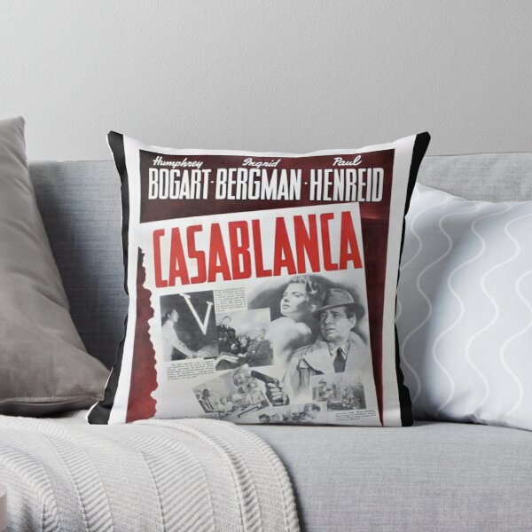 Vintage Casablanca Movie Poster Lithograph Wall Art Throw Pillow