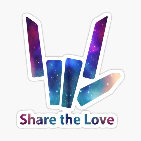 Comparte el logotipo de la mano de Love Galaxy Pegatina