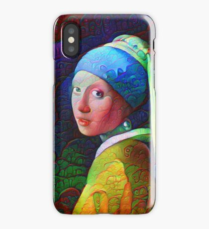 """DeepDreamed """"Girl with a Pearl Earring"""" iPhone Case"""