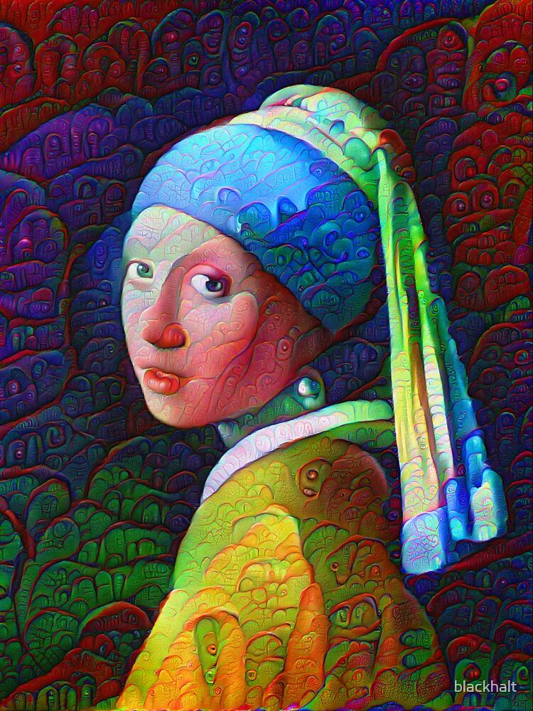 "DeepDreamed ""Girl with a Pearl Earring"" by blackhalt"