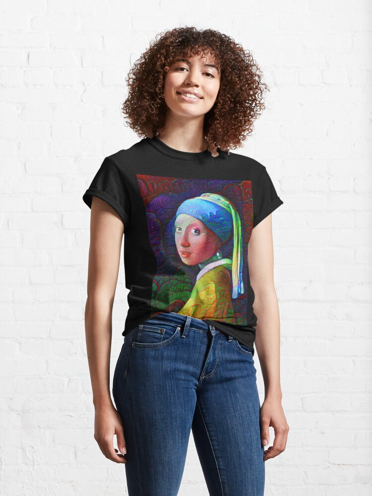 """Alternate view of DeepDreamed """"Girl with a Pearl Earring"""" Classic T-Shirt"""
