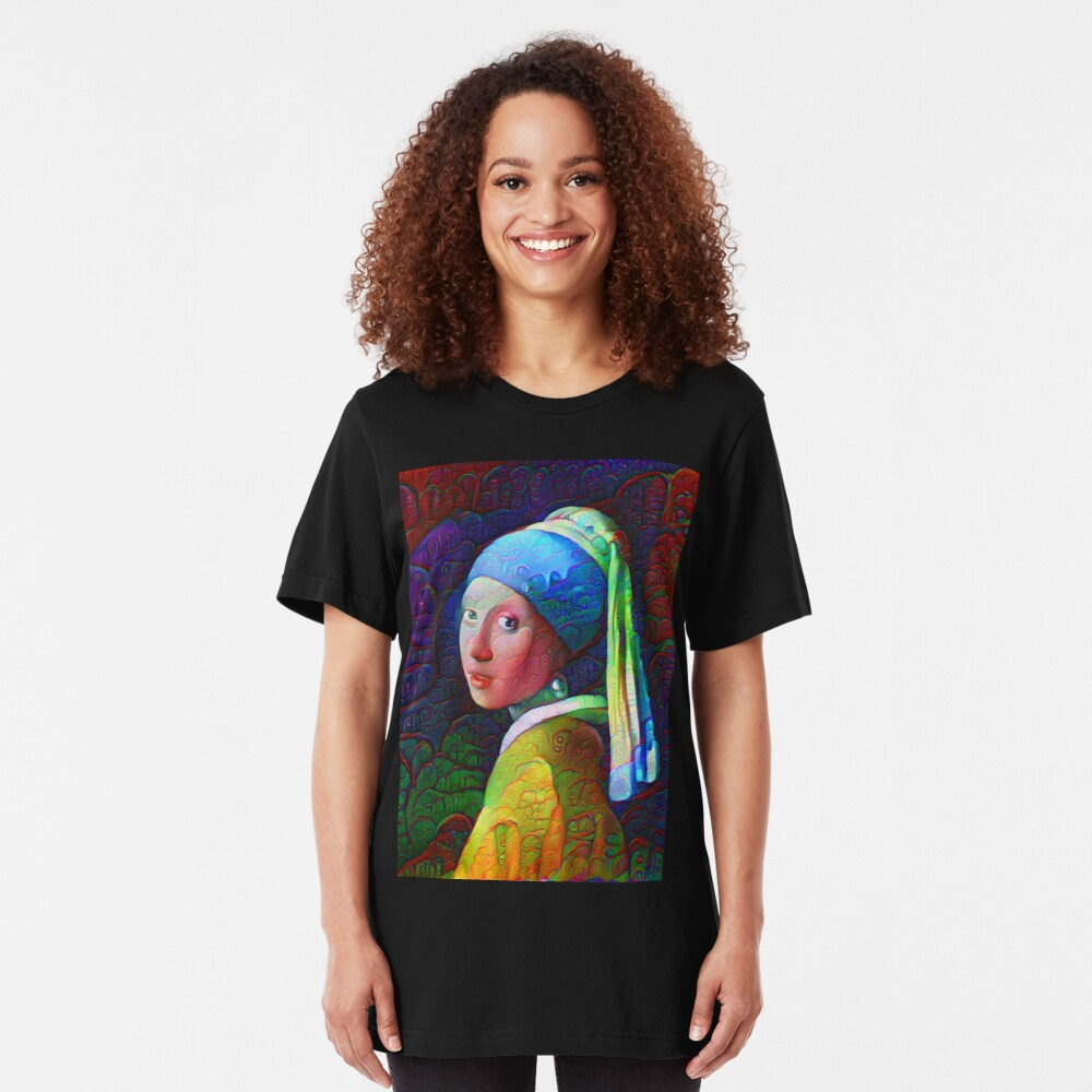 """DeepDreamed """"Girl with a Pearl Earring"""" Slim Fit T-Shirt"""