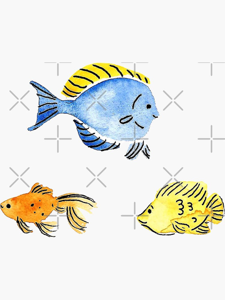 Hand Painted Watercolor Fish Stickers by annieparsons